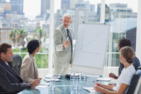 Homme d'affaires sérieux donnant une présentation avec des collègues regardant