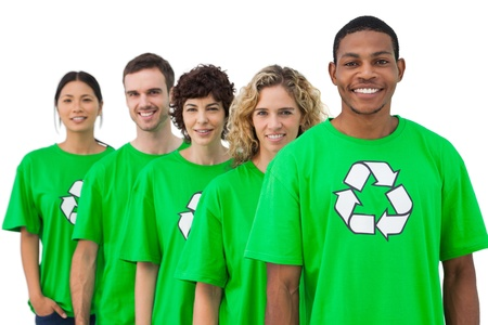 activists: Smiling group of environmental activists on white background