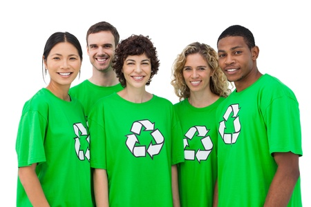 activists: Group of environmental activists smiling on white background Stock Photo