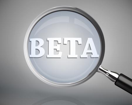 beta: Lente d'ingrandimento che mostra beta parola in bianco su sfondo grigio Archivio Fotografico