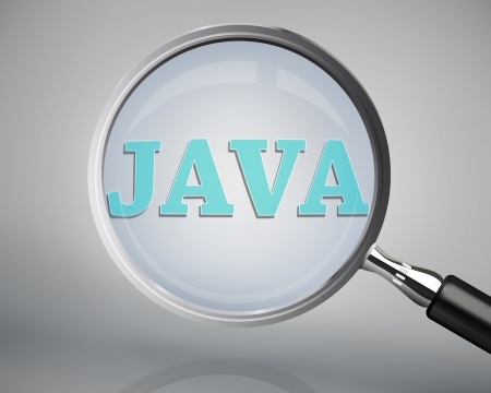 java: Magnifying glass showing java word on grey background
