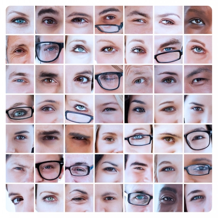 Collage of different pictures of eyes of people and reading glasses photo