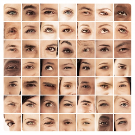 18 to 30s: Collage of different pictures of various eyes in sepia