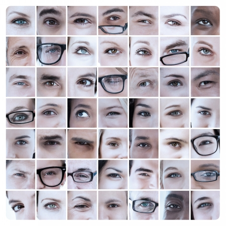 18 to 30s: Collage of various pictures with eyes