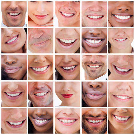 health collage: Collage of various white smiles