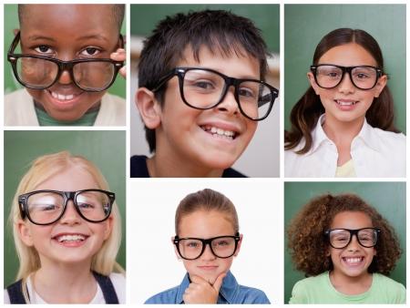 gafas de lectura: Collage de los alumnos alegre con gafas de lectura
