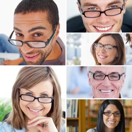 Collage mensen dragen leesbril Stockfoto