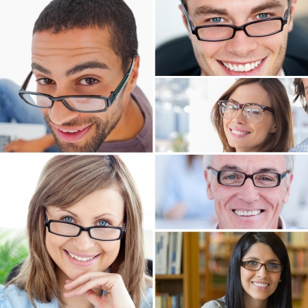 reading glasses: Collage of people wearing reading glasses Stock Photo