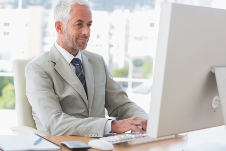 Happy businessman working on computer at his desk Stock Photo - 20637553