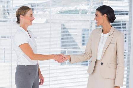 dandose la mano: Dos socios de apret�n de manos en la oficina