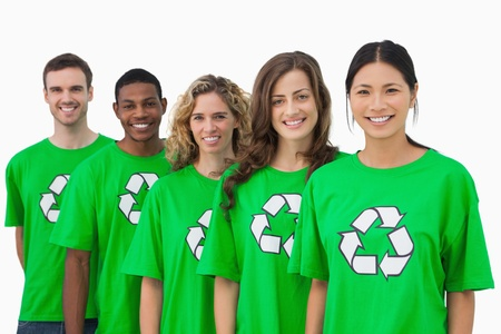 activists: Cheerful group of environmental activists on white background