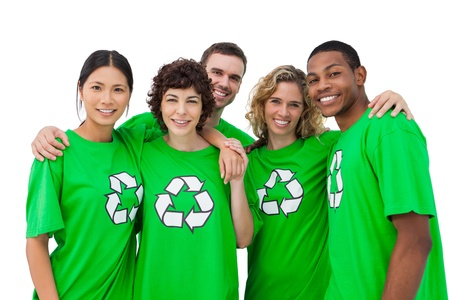activist: Group of people wearing green shirt with recycling symbol on it on white background Stock Photo