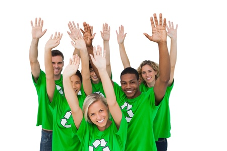 activists: Group of environmental activists raising arms on white background Stock Photo