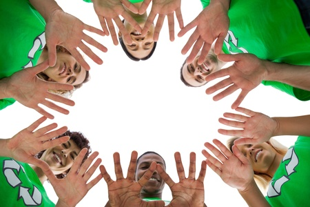 activists: Low angle view of environmental activists on white background Stock Photo