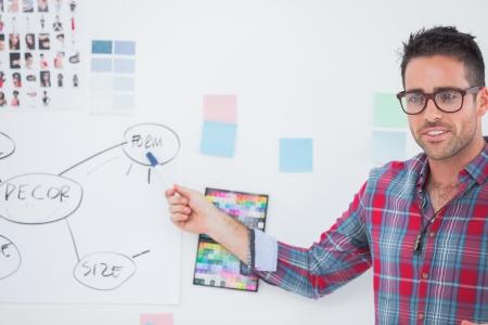 직업: 벽에 차트를 제시 인테리어 디자이너 스톡 사진