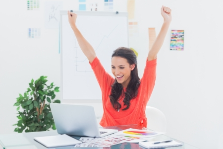 excited: Excited woman raising her arms while working on her laptop in her office Stock Photo