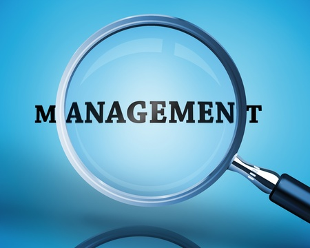buzz word: Magnifying glass showing management word on blue background Stock Photo