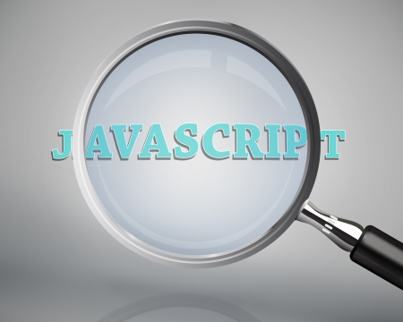 javascript: Magnifying glass showing javascript word on grey background