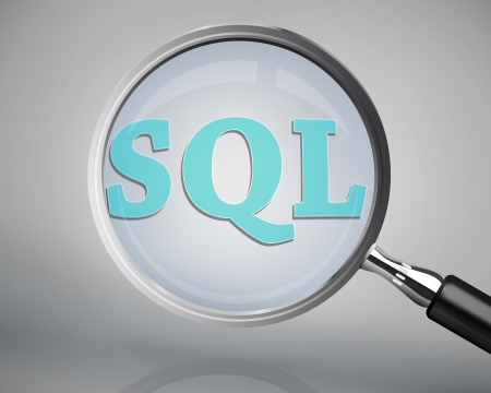 sql: Magnifying glass showing sql word on grey background Stock Photo