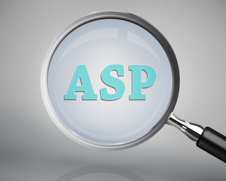 asp: Magnifying glass showing asp word on grey background