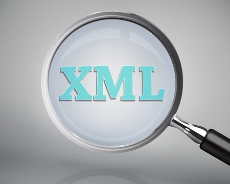 Magnifying glass showing xml word on grey background Stock Photo - 26704203