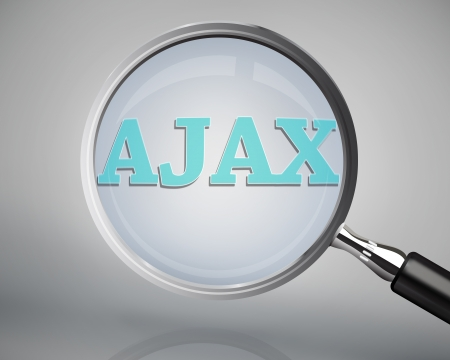 ajax: Magnifying glass showing ajax word on grey background