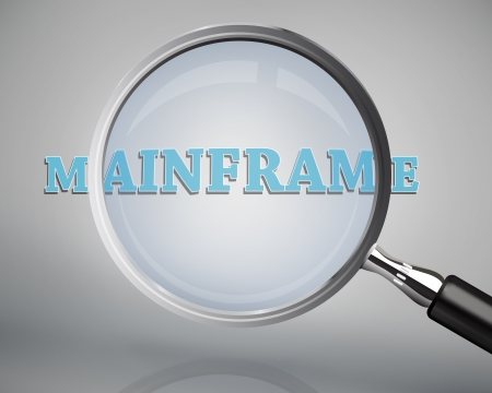 mainframe: Magnifying glass showing mainframe word on grey background Stock Photo