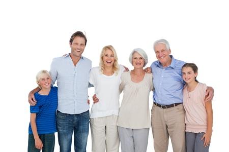 La famille élargie gestes sur fond blanc