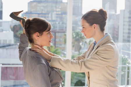 violence in the workplace: Businesswomen having a violent fight in their office Stock Photo