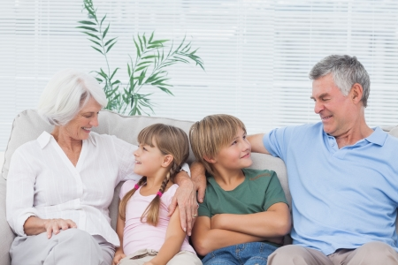 Grandparents speaking with their grandchildren in the living room Stock Photo - 20640403