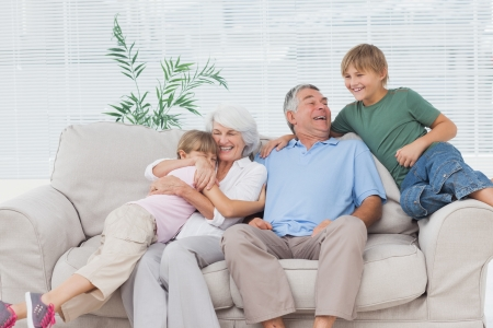 Smiling grandchildren embracing their grandparents on couch Stock Photo - 20640399