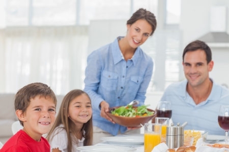 Portrait of a woman bringing a salad to her family for the dinner Stock Photo - 20636221
