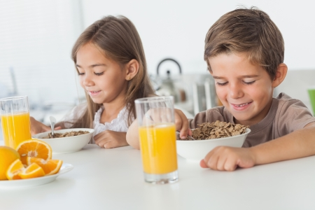 Cheerful siblings eating cereal together while they are having breakfast photo