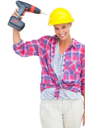 power drill: Funny handy woman with her power drill on white background