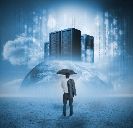 Businessman contemplating servers on earth with raining matrix photo