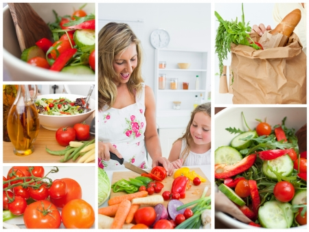 Collage of woman cutting vegetables with her daughter in the kitchen photo