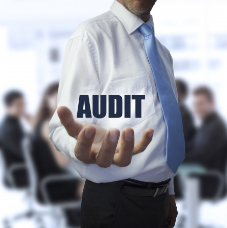audit: Smart businessman holding the word audit in front of a business team Stock Photo