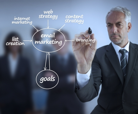 Elegant businessman writing marketing terms in front of a business team photo