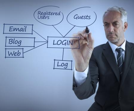 circling: Elegant businessman writing login terms on blue background