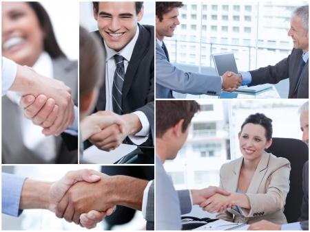 mani che si stringono: Collage di varie foto che mostrano uomini d'affari si stringono la mano