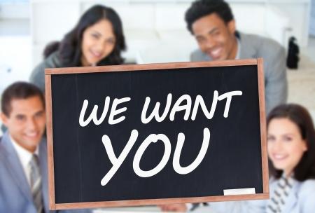 board meeting: We want you written on blackboard in front of business people