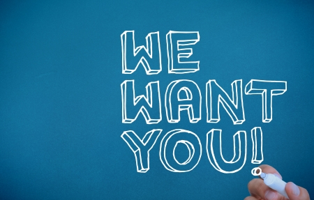 want: Hand writing we want you on blue background