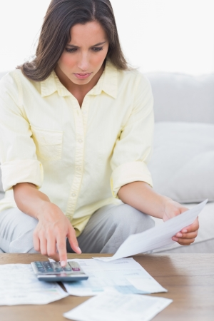 Woman doing her accounts sat on a couch Stock Photo - 20624246