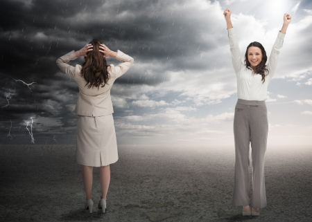 desert storm: Successful and stressed businesswomen in contrasting weather