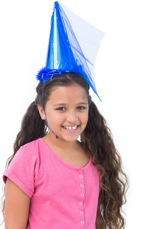 dressing up costume: Little girl wearing blue hat for a party on white background