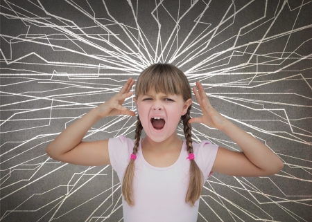 confusion: Cute child screaming because she is angry