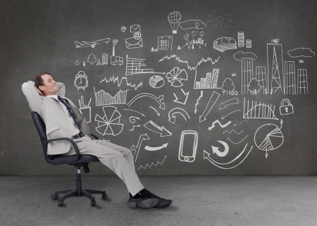Relaxed businessman sitting on a chair in front of a grey wall with graphs charts and illustrations illustration