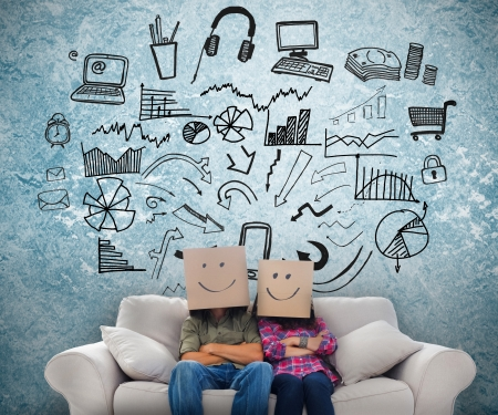 Employees sat on a couch wearing boxes on their heads with sketches on the background Stock Photo - 20625461