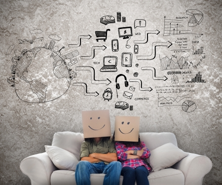 cool man: Silly employees with boxes on their heads with sketches drawn on the wall Stock Photo