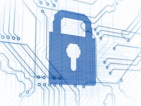 lock  futuristic: Lucchetto blu con circuito stampato su sfondo bianco